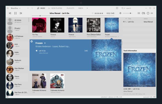 MusicBee Benutzeroberfläche